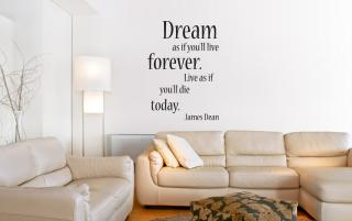 Dream  as if you'll live forever.  Live as if  you'll die  today. James Dean